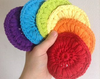 6 reusable cotton face wipes/rounds crochet Rainbow