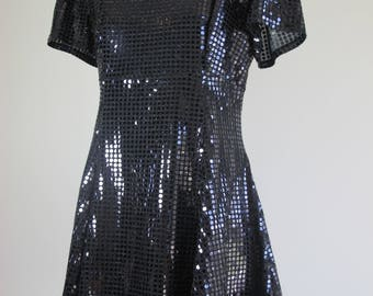Vintage 70s Sequin Disco Flared Black Mini Fun Party Dress