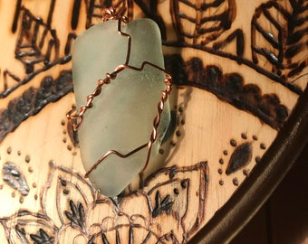 Blue Sea Glass Pendent #2