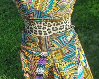 Afrique on the Rox in Royal Purple, Blue and Gold Leggings and top * yoga pants -women's leggings - festival leggings African print leggings