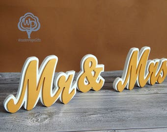 Mr and Mrs Wedding Sign Mr and Mrs Table decor Wedding table decor Wooden Freestanding Wedding letters Wood Mr and Mrs Sign