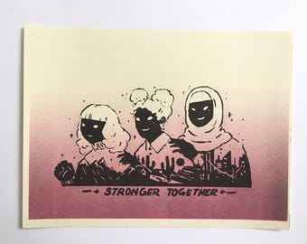 Stronger Together riso print