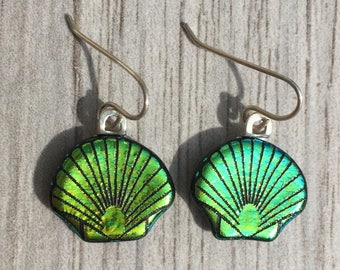 Dichroic Fused Glass Earrings - Green Scallop Shell Laser Engraved Etched Earrings with Solid Sterling Ear Wires