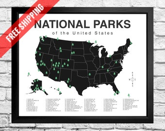 National Parks Map Checklist - Print