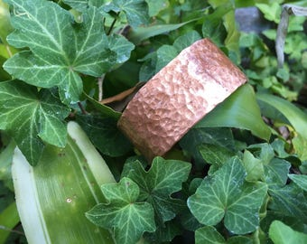"1"" Copper Cuff Bracelet, Hammered, Light Copper Hue, Small Medium Large"