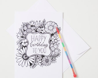 Greeting Card - Colour In / Floral