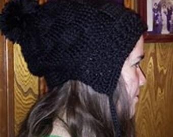 Basket Weave ear flap crocheted hat