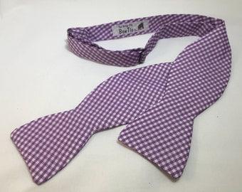 Gingham BowTie, Lavendar Bow Tie, , Self Tie Bow Tie, Freestyle Bow Tie, Summer Bow Tie, Derby Bow Tie