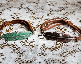Metal Feather and Adjustable Leather Bracelet Western/Boho/Gypsy