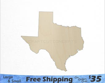 Texas TX State Cutout - Large & Small - Pick Size - Laser Cut Unfinished Wood Cutout Shapes (SO-0010-43)