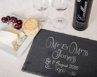 SLATE CHEESEBOARD - Personalised for the Happy Couple - Perfect Wedding Gift - Mr and Mrs - Mr and Mr - Mrs and Mrs
