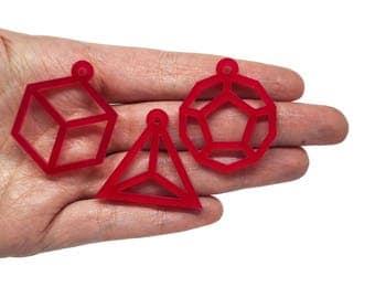 Mixed geometric shapes X6, Geometric shape bijoux, Pyramid cube dodecahedron jewelry, Geometric charms mix lasercut wood plexiglas- SET 6pz