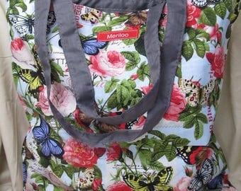 Meriloo Butterfly Flower Tote Bag