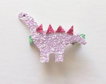 Glitter dinosaur clip or headband