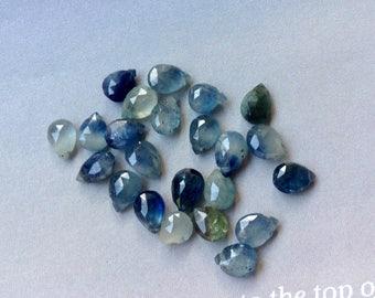 4 Sapphire Briolettes, 6mm, Sapphire Gemstone, Genuine Sapphire, Natural Sapphire ,Gemstone, Loose Gemstones