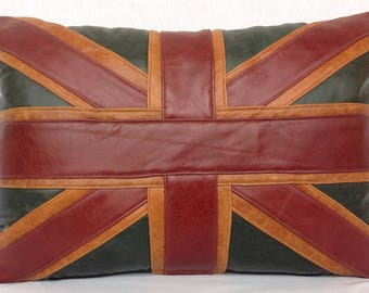 Leather Union Jack cushion
