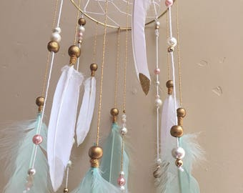Personalized Mobile, Pink Mobile, Green Mobile, Baby Room, Baby Gift, Woodland Mobile, Feather Mobile, Dream Catcher Mobile, Nursery Mobile
