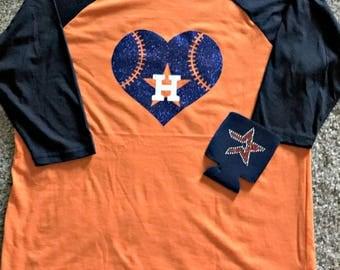 Astros Baseball Raglan, Astros Shirt,glitter astros, astros baseball