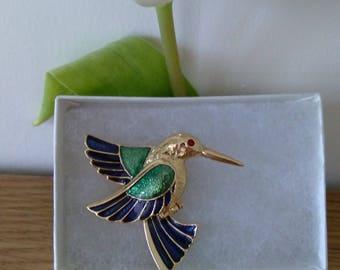 Vintage Gold Tone Enamel Kingfisher/Humming Bird Brooch - Boxed