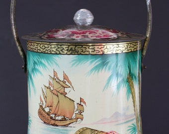 Vintage Early Baret Ware English Pirate Treasure Biscuit Barrel Collectable Tin Cookie Jar c1940~50's