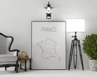 France map France art France print Map decor  Scandinavian style Minimalist art France wall art Paris art