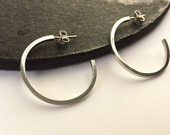 Sterling silver large geometric hoops