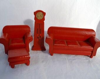 Vintage 1931 Strombecker red living room pieces