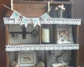 Vintage Found Items Assemblage Display