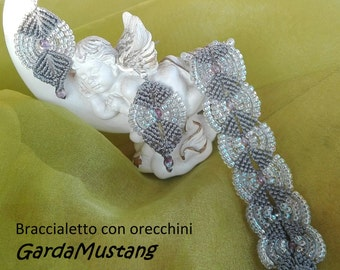 Gray bracelet with earrings
