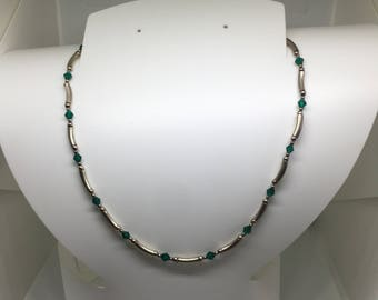Sterling Silver and Emeral Crystal Necklace