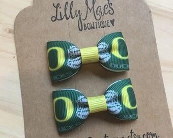Oregon Ducks inspired mini bow, Mini Tuxedo Hair Bows, baby & toddler hair clip, mini bow