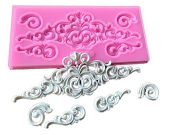 DIY lace pattern vine Border silicone mold cake decorating chocolate sugar decoration tools for cake turning edge