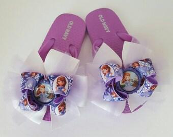 Sofia the first toddler bow flip flops size 8/9 disney flip flops