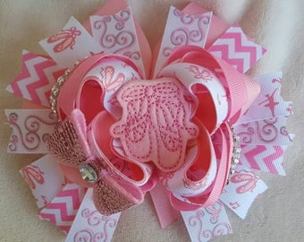 Ballerina hairbow, dance hairbow, pink Ballerina slippers, pink dance, stacked hairbow,  OTT hairbow, birthday gift
