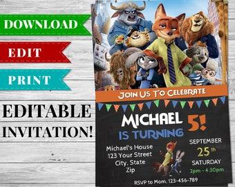 Zootopia Invitation, Editable Printable Zootopia Invite, Zootopia Theme Birthday Party, Chalkboard Invitation, Digital Invitation