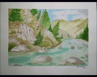 Original Watercolor of River