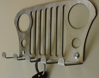 Jeep key holder rack Willys CJ offroading. Leash holder, jeep decor, hat rack, metal key holder, key rack, metal key rack, metal wall art