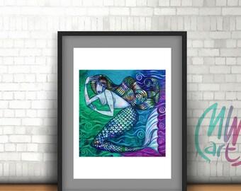 Teal Mermaid Art Print