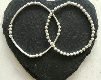 Handmade Silver ChloBo Style Boho Stacker Charm Elasticated Rice & Noodle Ball Beaded Bracelet Spacer