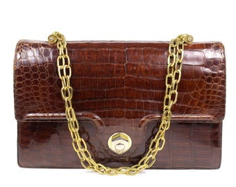 Vintage Brown Exotic Leather Frame Bag