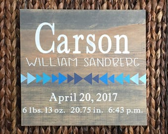 Custom Birth Announcement Wood Sign | Personalized Birth Stats Sign | Baby Gift | Baby Birth Sign | Tribal Nursery Decor
