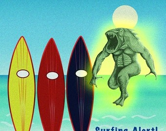 SURFING ALERT! Surfboards w Sea Monster, Art Print, 6x6 image in 8x10 mat