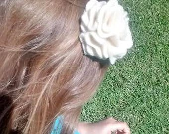 Cream Felted Wool Upcycled Flower Hair Clip