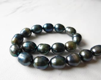 Teal blue green oval freshwater pearls/10x8mm/8 inch strand