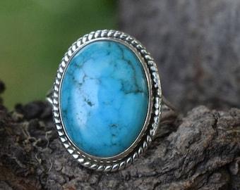 TURQUOISE STONE RING, Turquoise Ring, Turquoise Silver Ring, 92.5 sterling Silver Ring, Handmade Ring, Gypsy Ring ,  10