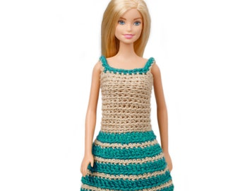 Crochet Barbie Doll Clothes Strap Skater Dress