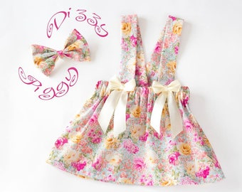Pink floral baby/girls adjustable pinafore summer skirt/dress and bow headband set, birthday dress, baby gift, birthday outfit