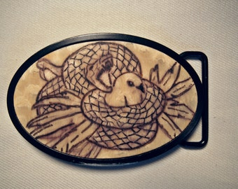 1970s Vintage Snake Belt Buckle -- Wooden
