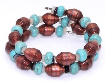 Tibetan Twist (Upcylced Paper Bead Bracelet/HP0052)
