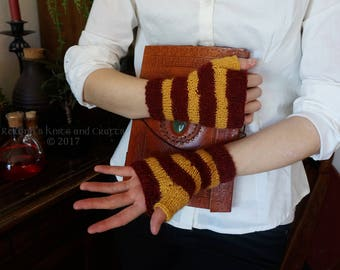 Gryffindor Knitted Fingerless Gloves